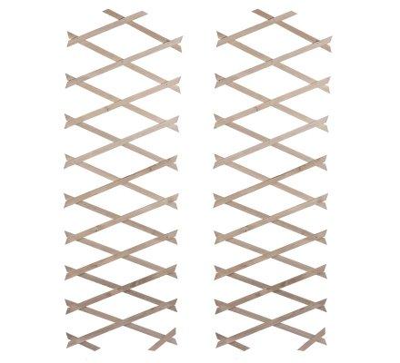 Lot de 2 treillis ou barrières en bois fin extensible 180cmx31cm coloris beige