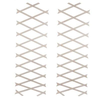 Lot de 2 treillis ou barrières en bois fin extensible 180cmx31cm coloris blanc