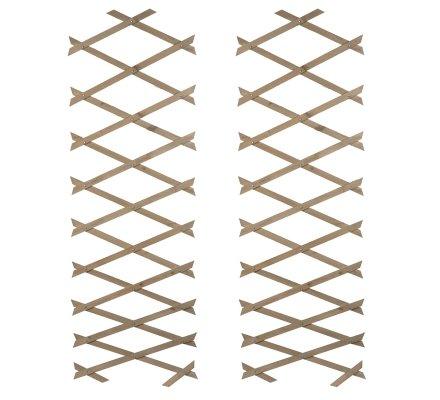 Lot de 2 treillis ou barrières en bois fin extensible 180cmx31cm coloris taupe
