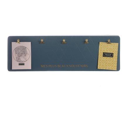 Porte photo mural en bois avec 5 pinces dorées 60x20cm Bleu