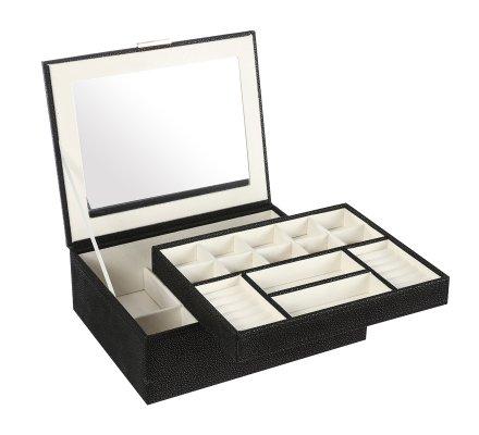 Boîte à bijoux effet cuir noir + miroir 26x21,5cm