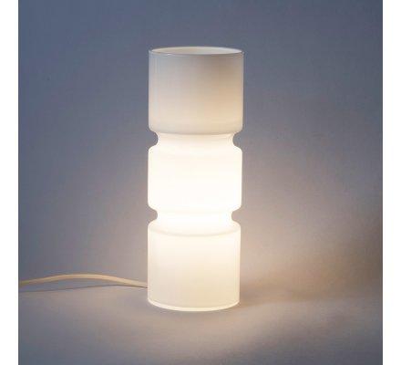 Lampe de chevet design forme cylindrique en verre blanc