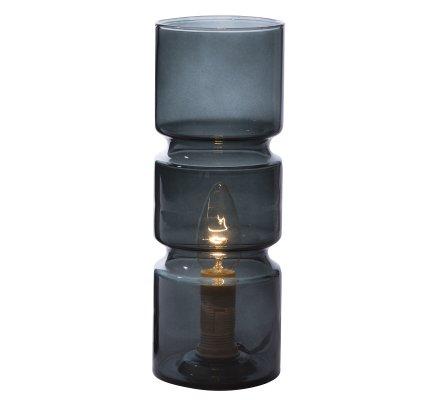 Lampe de chevet design forme cylindrique en verre gris foncé