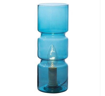 Lampe de chevet design forme cylindrique en verre turquoise
