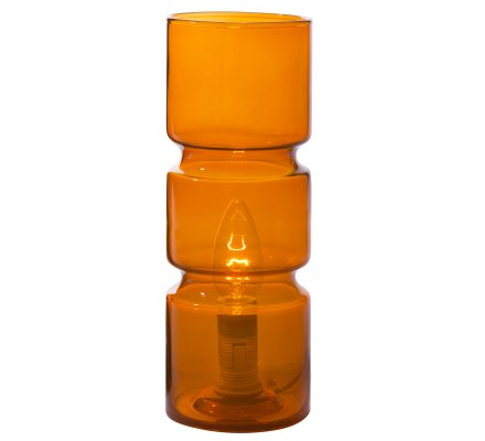 Lampe de chevet design forme cylindrique en verre orange