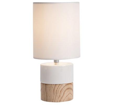 Lampe de chevet design ceramique blanche et imitation bois 29x14cm