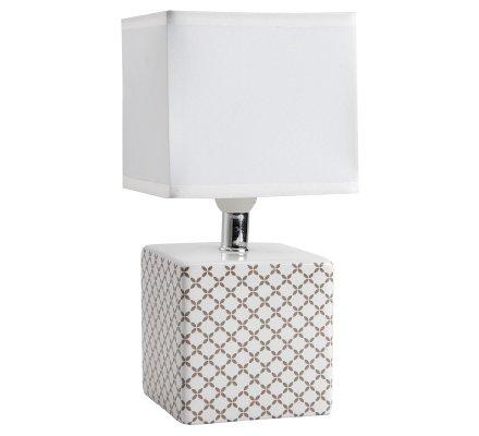 Lampe de chevet cube design quadrillage beige 22x11cm