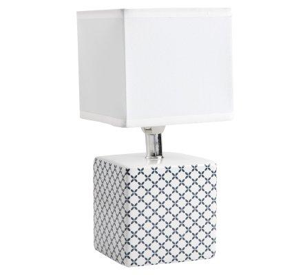 Lampe de chevet cube design quadrillage bleu marine 22x11cm