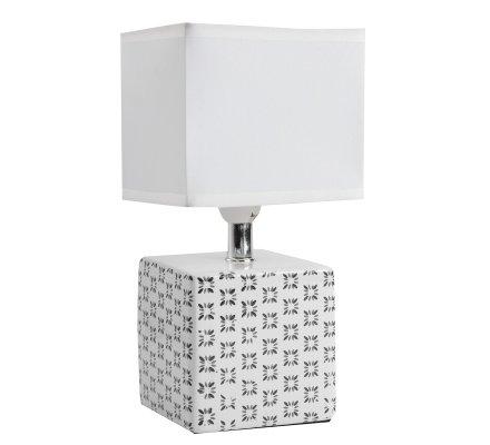 Lampe de chevet cube design motif fleurs noires 22x11cm