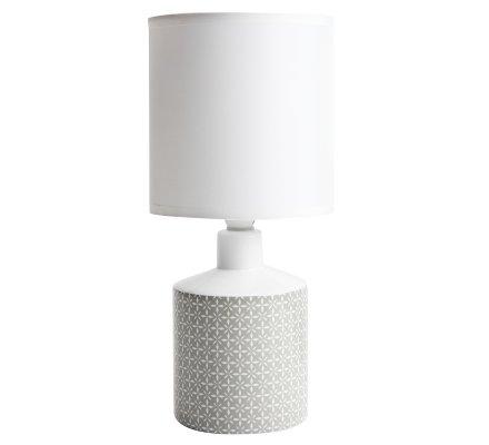 Lampe de chevet GISELE céramique motif gris 29x14cm