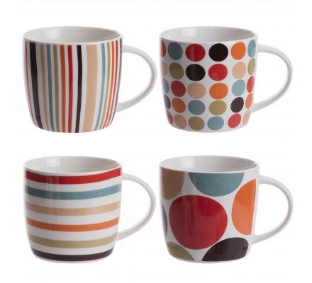 Lot de 4 mugs en céramique motifs variés multicolores H10cm x D9cm
