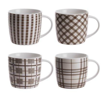 Lot de 4 mugs en céramique motifs variés coloris beige H10cm H10cm x D9cm