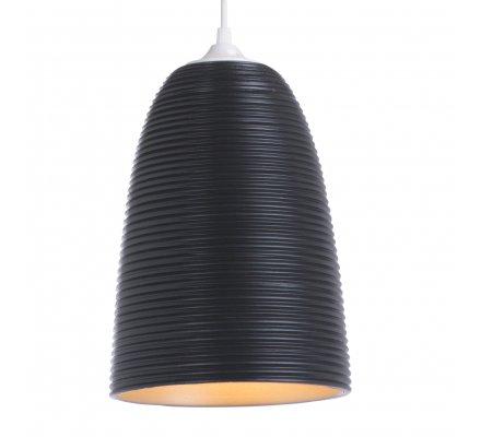 Suspension CHIARA en verre strié noir 24x17cm