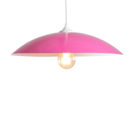 Suspension RONDO BICOLORS en verre - Fuchsia/Blanc
