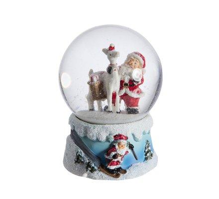 Boule à neige musicale père noël avec renne 16cm