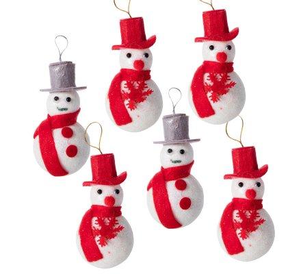 Lot de 6 bonshommes de neige avec chapeau à accrocher (4 rouges, 2 gris)