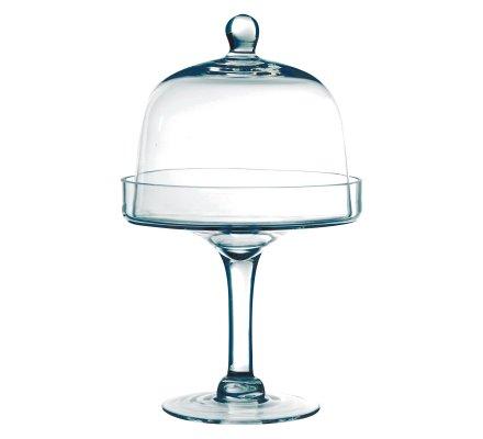 Présentoir cloche à gâteau sur pied en verre (h)30x(d)19cm