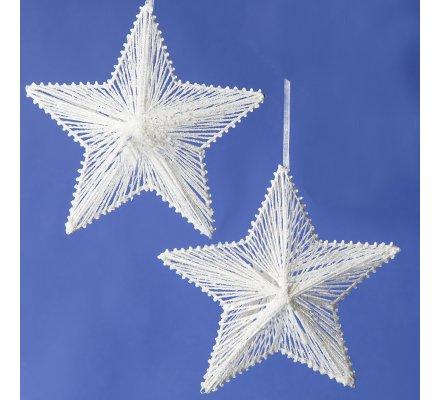 Lot de 2 étoiles déco pailletées à suspendre 20,5cm
