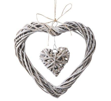 Lot de 2 double cœurs osier 25cm à suspendre