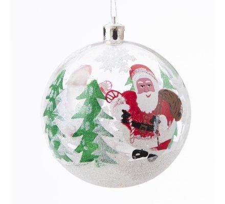 Lot de 6 boules de Noël transparentes avec décoration neige et Père Noël
