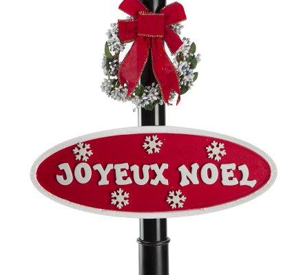 Lampadaire musical et lumineux intérieur et extérieur, décoration de Noël enneigé 30 LED, H180cm
