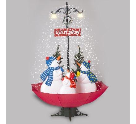 Décor de Noël musical, scène animée avec neige tombante, fontaine de neige 42 Leds 115x115x170cm