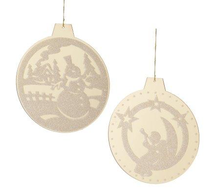 Lot de 2 ornements ronds dorés avec décor de noël 15cm