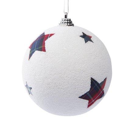 Lot de 6 boules style ecossais 3 rayées et 3 avec étoiles 9cm