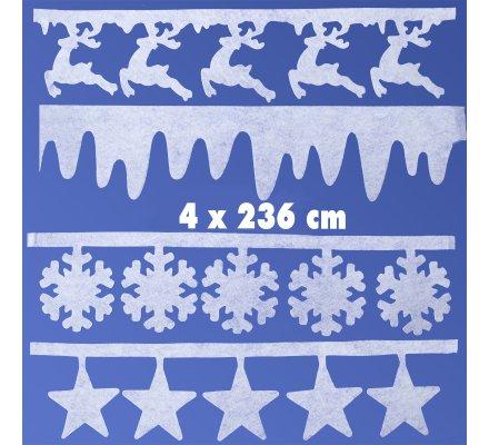 Lot de 4 ornements de Noël pour fenêtre blanc 4 motifs 944cm (4x236cm)