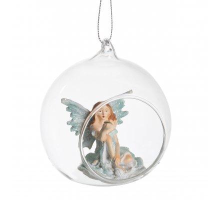 Lot de 3  Boules en verre ouvertes avec figurine fée