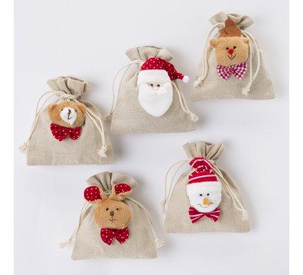 Lot de 5 petits sacs de Noël en tissu assortiment 5 motifs