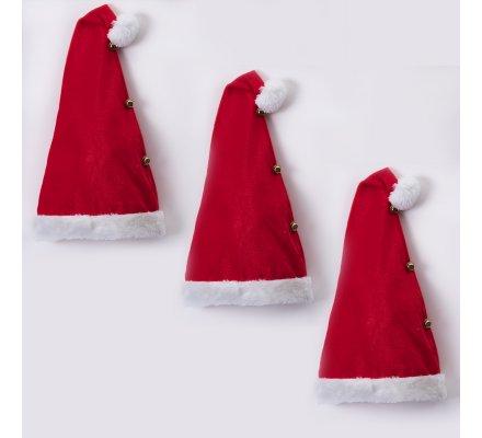 Lot de 3 bonnets de Noël avec clochettes 30x52cm