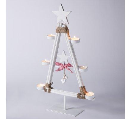 Arbre bougeoir déco en bois sur pied forme de sapin de Noël avec étoile 51cm