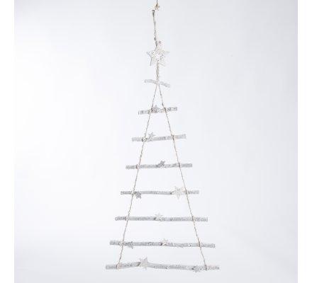 Arbre de Noël déco à suspendre en bois blanc et ficelle avec étoile 80cm