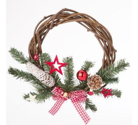 Couronne de Noël en rotin tressé 30cm avec décoration sapin, pomme de pin, ruban vichy et étoile