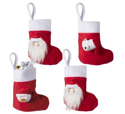 Lot de 4 bottes de Noël rouges à suspendre avec tête de père noël, bonhomme de neige et ours 22cm