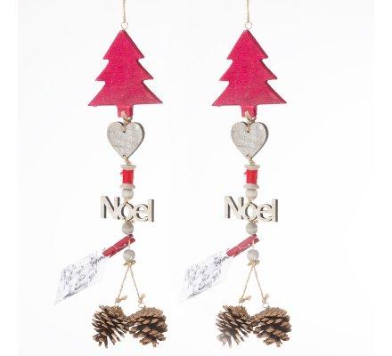Lot de 2 suspensions déco Noël en bois 48cm
