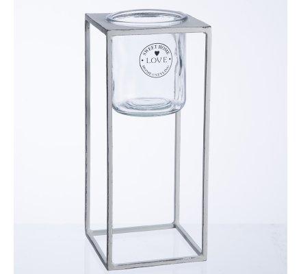 Photophore bougeoir en suspension déco extérieur structure en métal blanc veilli H30cm
