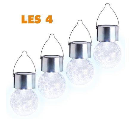 Lot de 4 ampoules suspension solaire 9x6cm