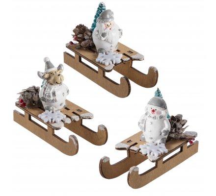 Lot de 3 luges déco de table avec père noël, renne et bonhomme de neige