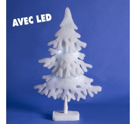 Sapin déco blanc en mousse avec LED H50cm