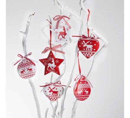 Lot de 6 sujets de noël métal rouge et blanc à accrocher, coeur, étoile, boule