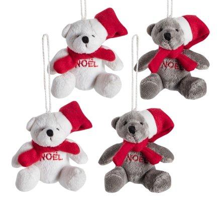 Lot de 4 oursons de noël à accrocher au sapin assortiment gris et blanc