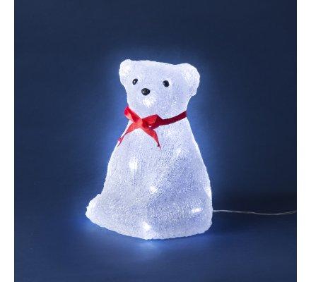 Ours lumineux 25cm à Led blanche pour intérieur et extérieur