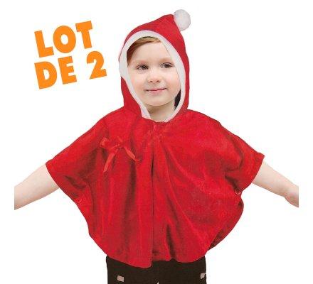 Lot de 2 capes de Noël pour enfant rouge et blanche 2-4ans