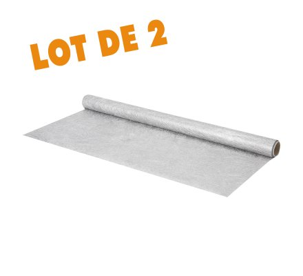 Lot de 2 chemins de table rouleau tulle argenté 50x250cm