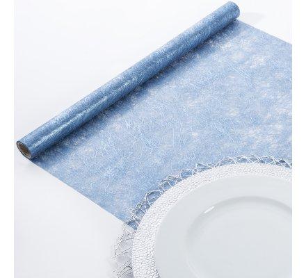 Lot de 2 chemins de table rouleau tulle Bleu 50x250cm