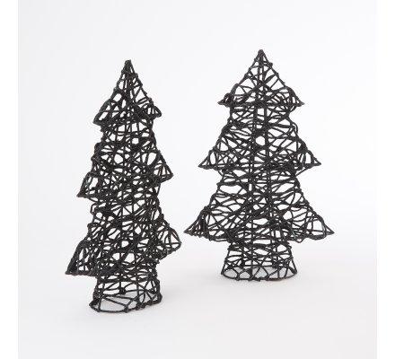 Lot de 2 sapins miniature déco design fil métal noirs 31cm
