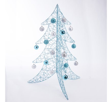 Sapin de Noël déco design en métal bleu 100cm