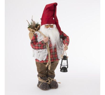 Figurine décorative Père Noël avec lanterne H50cm
